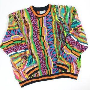 Coogi Vintage Sweater Neon 3D Mercerised